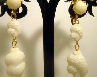 Vintage White Drop Clip On Earrings, Made in Japan