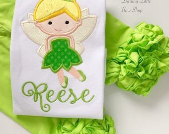 Fairy shirt or bodysuit for girls, Tink Shirt, Tinkerbell Shirt, green with sparkly wings, beautiful fairy shirt, personalized with her name