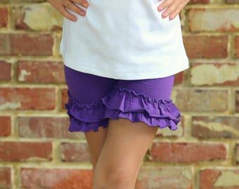 Purple Ruffle Shorties, Grape Ruffle Shorts - pretty purple knit ruffle shorties sizes 6m to girls 10 - Free Shipping