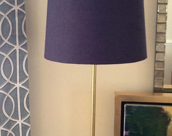 Unfinished Brass Lamp with Navy Blue Linen Lamp Shade with Gold Lining