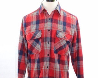Vintage 80s Plaid Flannel Button Down Shirt