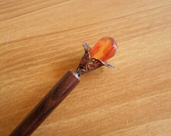Fire Lily - agate and bronze hairstick