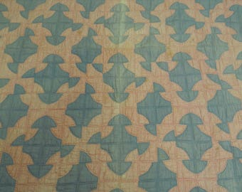 """Vintage quilt drunkard's path variation solid  blue and red """"flower power"""" print hand pieced & quilted 76"""" square cotton fabrics and batting"""