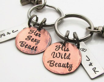 Couples Gift Set, Personalized Couples KeyChain Set, His and Hers, Hand Stamped KeyChain, Hand Stamped Personalized Wedding Gift Anniversary