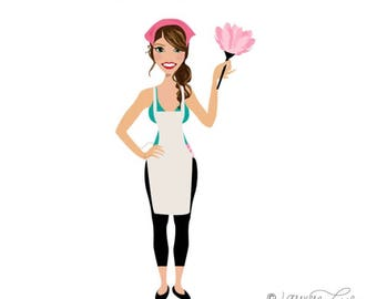 Cleaning Lady Maid Illustration Avatar Character Logo Artwork Clip Art for your Business, Blog, or Website - Web Design - Graphic Design