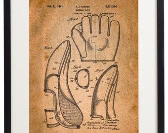 Set of 4 Prints Baseball Glove Patent Vintage Home Decor Wall Art Print