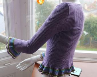 SALE Ribbed lilac cotton cardigan by Aeffe with flared stripe cuff & peplum USA 8 , uk 12, F 40, I 44