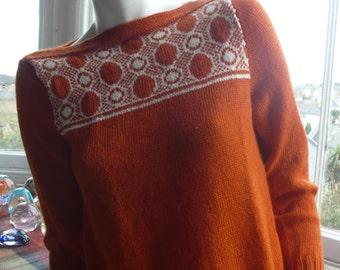 Exquisite 1940s style wool alpaca orange handknit sweater S unworn vintage