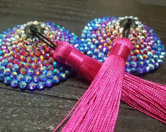 Nipple tassels ultra sparkley rhinestoned ab rainbow