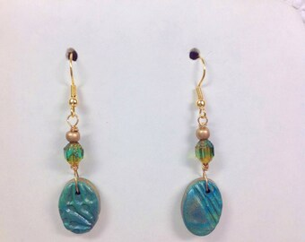 Green polymer clay with crystals drop earrings