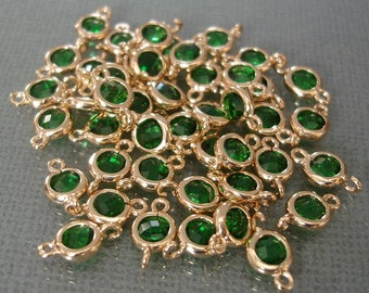 Tiny Round Gold Color over Brass Framed Emerald CZ Connector 10x6 mm / 2pcs