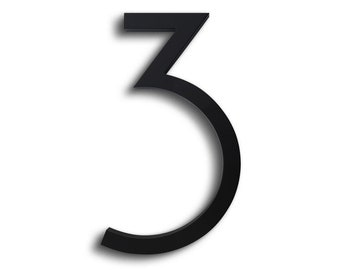 """Modern House Number Aluminum Contemporary Font Number Three """"3"""" in Black Finish"""