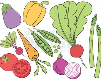Doodle Vegetable Clip Art Set—Hand drawn Food Clipart—Commercial Use—Digital Download Art—Vector Graphics