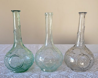 3 French Antique Carafe French Vintage Bottle for French Aperitif Glass Eau de Nil Color