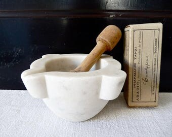 Marble Mortar - French Cooking - French kitchen - french Mortar - Apothecary Mortar - French Antique mortar