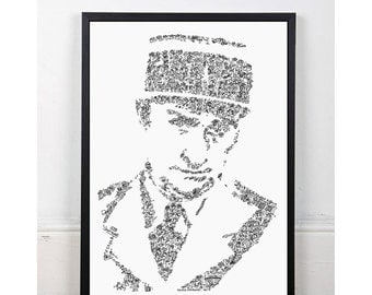 Louis de Funes - troops of Saint tropez -  Doodles Portrait of the french actor -Open Edition Print - french riviera cruchot