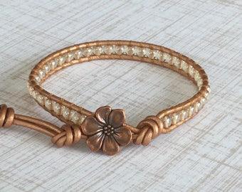 Copper Wrap Bracelet Metallic Leather Single Wrap Layering Bracelet Free Shipping  Boho Chic