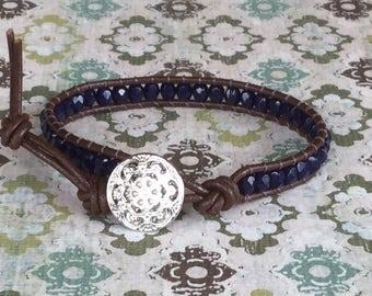 Single Wrap Bracelet Brown Leather Wrap Navy Blue Single Wrap Free Shipping