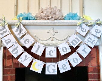 I Love you to the moon and back BABY Shower Decorations / Yellow and Gray Baby Shower / welcome baby banner / Custom colors