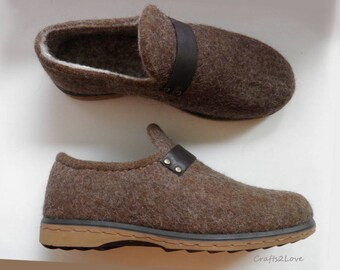 Mens loafers, felted wool shoes, felted shoes, gift for him, super comfortable wool shoes, made to order