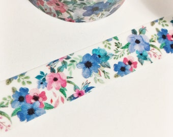 Washi Tape Beautiful Floral Pink Flower Blue Flower Green Leaves Dark Pink and Blue Floral Washi Tape 11 yards 10 meters 15mm