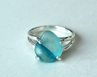 Size 7 Sterling Silver  Aqua and Clear Multi Seaglass Ring From Seaham Beach Sunderland