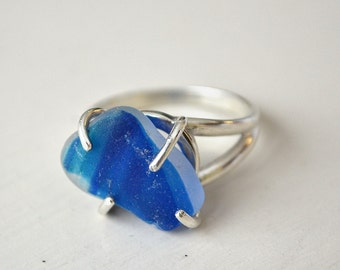Size 8 Sterling Silver White, Aqua and Blue Multi Seaglass Ring From Seaham Beach Sunderland