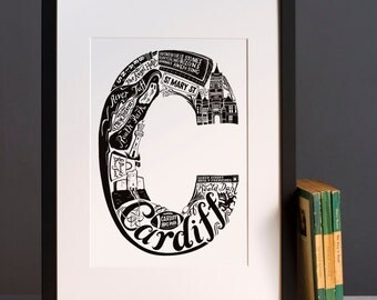 Cardiff print  - Graduation gift - University town - Typographic art - Cardiff poster - Welsh artwork