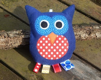 Owl Rattle~ Blue/Red