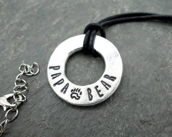 papa bear necklace, fathers day gift, mens necklace, mens jewelry, silver washer necklace, gift for dad, modern rustic, leather neckalce dad