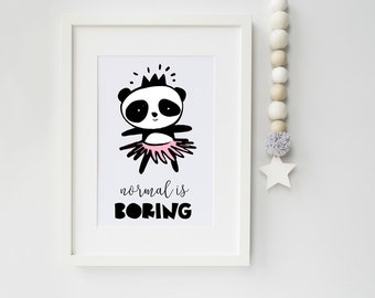 Panda Girl with Tutu Art Print, art print, nursery print, children's bedroom, scandinavian art, scandi, panda, ideal gift new parents
