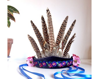 Boho Festival Feather Headdress / headband / hairband with embroidered trim