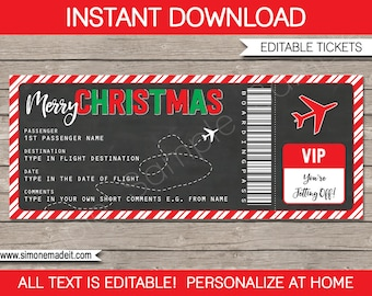 Christmas Gift Boarding Pass Ticket - Surprise - Flight , Trip, Getaway, Holiday, Vacation - Present - INSTANT DOWNLOAD with EDITABLE text