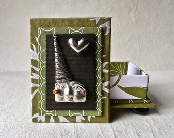 Handmade Gift Box in Green and Silver with Pewter Heart and Party Hat