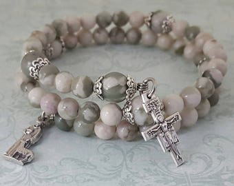 Rosary Bracelet, Peace Jade, Saint Francis, San Damiano, Stainless Steel, Five Decade, Memory Wire, Handcrafted, Gemstone, Wrapped Rosary