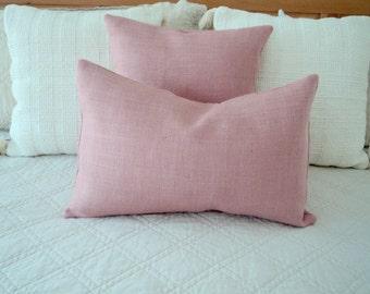 Pink Lumbar Pillow Cover Blush Pink Burlap Pillow Cover Pink Accent Pillow Blush Home Decor Pink Decorative Pillow Covers