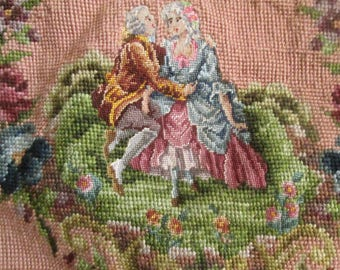 2 Large Vintage Needlepoints for Chair Back & Seat, Roses, Antique