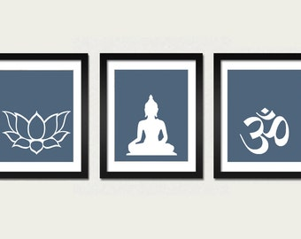 Namaste Set Buddha Om Lotus Prints, Modern Zen Decor, Yoga Studio Decoration, Minimal Art, Buddhist Art, Meditation Room, Zen Prints, Set 3
