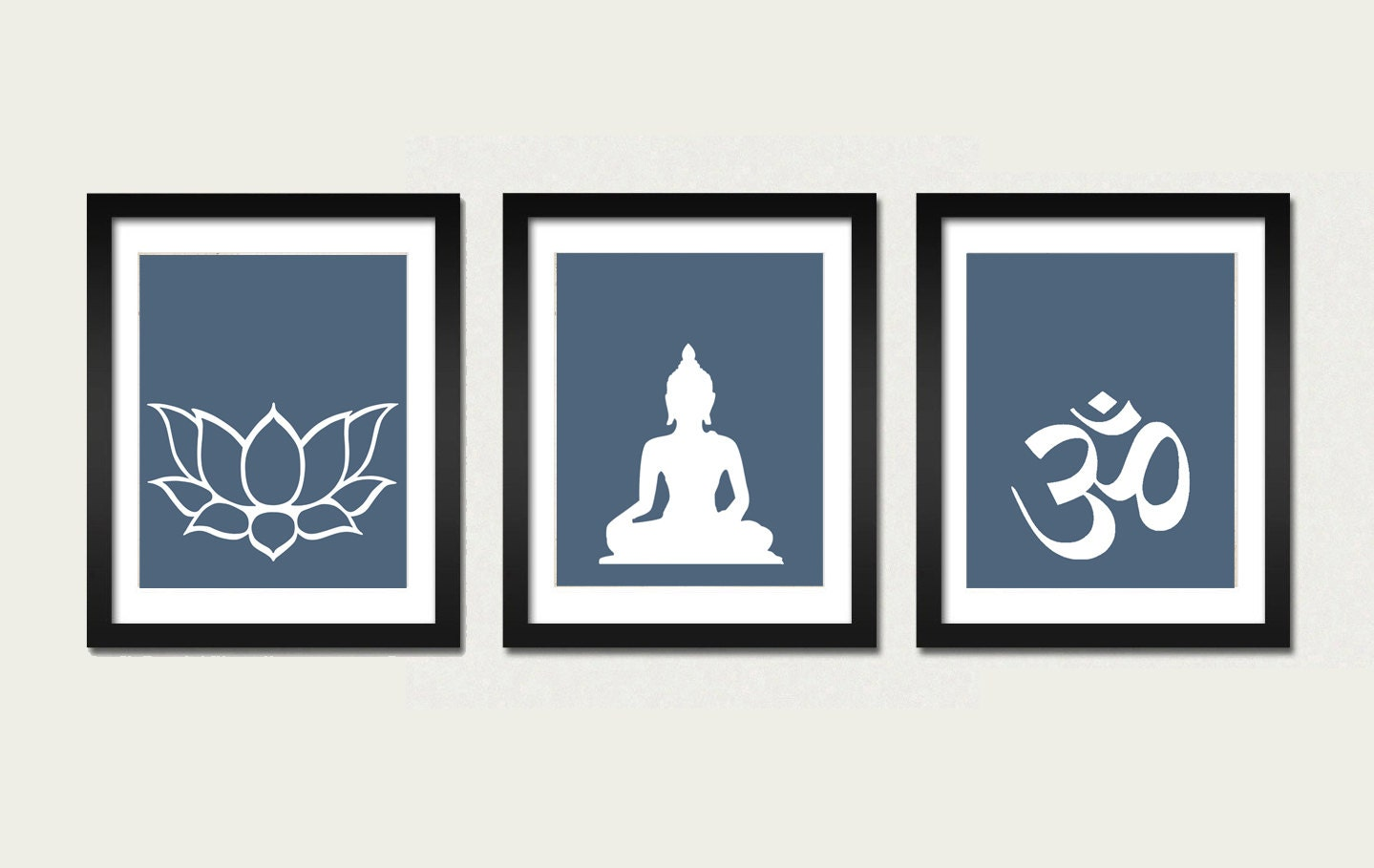Namaste Set Buddha Om Lotus Prints Modern Zen Decor Yoga