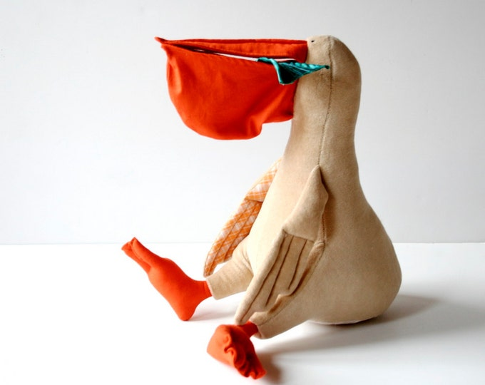 Pelican Joe, Soft Stuffed Fishing Bird, Sitting Pelican Stuffie