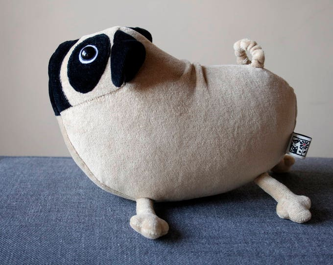 Little Pug dog, cute light brown puppy, soft pug toy