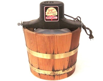 Rival Ice Cream Maker 8550 Wood Bucket Made in USA (used)