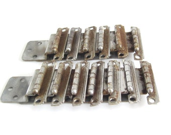 "Distressed Chrome Cabinet Hardware Cupboard Door Hinges Hardware 1940s Art Deco Stepped Edges 3/8"" Inset (AS-IS)"