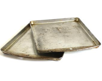 """Ekco Petite Baking Pans Small Cookie Sheets 9 x 7"""" Toaster Oven Tray Food Photography Props"""