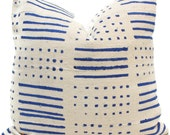 Mud Cloth Pillow, Decorative Pillow Cover Blue and White Geometric African Mud Cloth, Hand made fabric from Mali Square or lumbar pillow