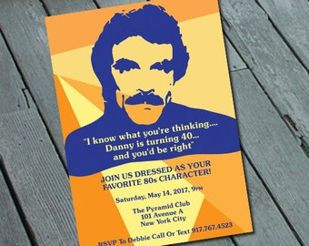 80's Magnum PI Tom Selleck PARTY Invitation: Digital printable file *printing available upon request*