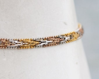 Copper Silver and Gold Bracelet - Sterling Silver Thin chain Bracelet - Vintage Fmc Jewelry