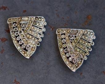Art Deco Silver Shoe Clips with Rhinestones