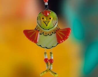 Crazy Long Legged Bird Fused Glass Ornament