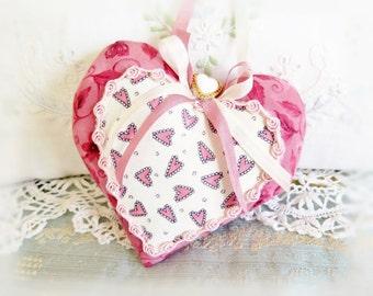 Valentine Heart Ornament 5 inch Heart Ornament Door Hanger, Pink Hearts Floral, Folk Art, Handmade CharlotteStyle Decorative Folk Art